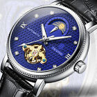 TEVISE Men Automatic Mechanical Wrist Watches Moon Phase Leather Band Tourbillon image