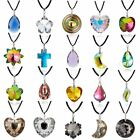 Fashion Crystal Geometric Round Leaf Heart Pendant Necklaces Women Jewelry Gifts