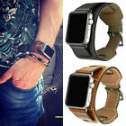 Apple Watch Genuine Leather Band Cuff Bracelet Strap Series 4 3 40mm 44mm iWatch image