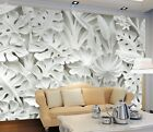 3D White Leaves Plant 12 Wallpaper Mural Print Wall Indoor Wallpaper Murals UK
