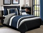 Chezmoi Collection 7-Piece Embroidered Pleated Stripe Comforter Set, Navy Blue image