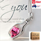 Women Necklace Ladies Jewellery Crystal Pendant Chain Char Silver  Pink Blue