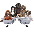 Dog Double Bowl Stainless Steel Water Food Feeding Feeder Puppy Supplies Goodish