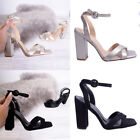 Womens Ladies Mid Block High Heel Party Ankle Comfort Chunky Sandal Shoe Size