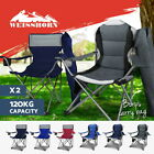Weisshorn 2x Folding Camping Chairs Arm Chair Portable Outdoor Garden Fishing