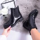 Womens Ladies Flat Chelsea Ankle Boot Biker Grunge Chunky Studs Black Shoe Size