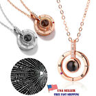 I Love You-100 Languages Light Projection Pendant Necklace Women Jewelry Gift Ws