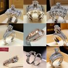 Kyпить Luxurious Shiny 925 Silver White Sapphire Bridal Engagement Jewelry Ring Set  на еВаy.соm