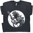 Cool Guitar T Shirt Vintage Godzilla Acoustic Electric Bass Drum Fender Men Band image