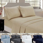 Bedding Bed Sheet Set 4 Pcs Deep Pocket Microfiber & Wrinkle Free Soft Sheets image