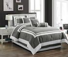 Chezmoi Collection Caprice 7-Piece Gray White Square Hotel Style Comforter Set image