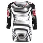 Women Mom Pregnant Maternity Clothes Spliced Floral Striped Ruched Tops Blouse