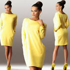 Fashion Women T-shirt Dress Long Sleeve Pocket Solid O-Neck Casual Loose Dress