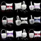 Внешний вид - Wedding Flower Girl Basket & Ring Pillow Set Ring Bearer Cushion Pillow Basket