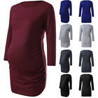 Women Mom Maternity Ruched 3/4 Sleeve Tops Shirt Pregnancy Clothes Solid Blouse