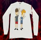 New MTV Beavis And Butthead Mens White 1993 Long Sleeve Vintage Classic T-Shirt image