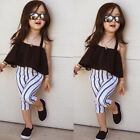US Toddler Kid Baby Girl Clothes Strap Tops+Stripe Long Pants Casual Outfits Set