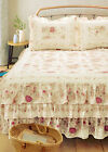 VINTAGE RUFFLED Queen or King BEDSPREAD : COTTAGE ROSE QUILT CREAM IVORY SHABBY image