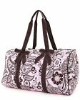 Belvah quilted paisley & floral duffel bag pink/brown or turquoise/brown B765