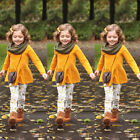 US Child Toddler Kids Girls Outfits Clothes Long T shirt Tops Dress+Pants Sets