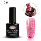 MEET ACROSS Shiny Rose Gold Color Glitter Soak Off UV Gel Polish Nail Varnish