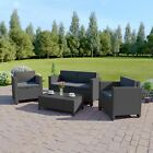 NEW Dark Mix Grey Rattan Weave Garden Furniture Sofa Set FREE COVER