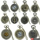 Steampunk Design Vintage Retro Pocket Watch Quartz Necklace Chain Mens Antique image