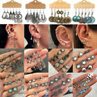 12Pairs Retro Women Ear Clip Boho Hoop Bohemia Earrings Set Cuff Stud Crystal image