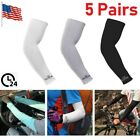 5 Pairs Cooling Arm Sleeves Outdoor Sport Basketball UV Sun Protection Arm Cover