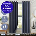 2X Blockout Curtains Blackout Room Darkening 3 Layer Pure Fabric 250/300GSM Grey