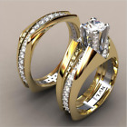 14K Solid Yellow Gold White Sapphire Ring Set Wedding Women Men's Jewelry Sz6-10 image