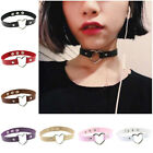 Sexy Womens Punk Gothic Pu Leather Choker Heart Chain Buckle Collar Necklace New