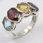 925 Sterling Silver MULTICOLOR 4 GEMSTONES Ring Any Size ARTISAN Picnic Day Gift