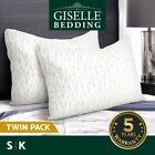 Giselle Bedding Twin Pack Memory Foam Pillows Cool Gel Pillow Cushion Soft Rayon