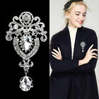 Large Crystal Diamante Flower Pearl Brooches Wedding Vintage Bouquets Brooch Pin