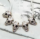 10 25 Silver SKULL Charms 3D - Large Hole Beads Gothic fits Bracelets Halloween