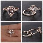 Womens Crystal Engagement Wedding 2pcs Ring Set Cubic Zirconia Ring Jewelry Uk