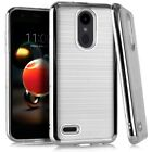 For LG Phoenix 4 LM-X210APM /Fortune 2 Brush Chrome Case Cover +Tempered Glass
