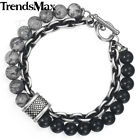 Kyпить Mens Bead Bracelet Tiger Eye Glass Map Stone Stainless Steel Link Chain Jewelry на еВаy.соm