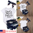 US Kids Baby Boy&Girl Clothes Little Fishing Buddy Romper Tops Shorts Outfits