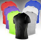 Mens Workout T Shirt Compression Short Sleeve Slim Fit Base Layer Sport Tee Tops image