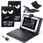 "US For 7"" 8"" 10"" 10.1"" Tablets Black Eyes PU Leather Case W/ USB Keyboard Cover"