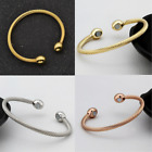Men's Women's Pure Copper Magnetic Therapy Twist Cable Cuff Two Magnets Bracelet