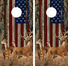 Cornhole Wraps - American Flag with Buck and Does - Oak Tree Camo 2 pack 12