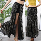 Plus Size 2019 New Women Sparkly Sequins Tassels Belly Dance Skirt M L XL