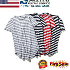 USA Stylish Mens Summer T-Shirts Striped Short Sleeves Crew Neck Tee Casual Tops image