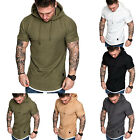 Men Short Sleeve T-shirt Fitness Workout Gym Hooded Hoodie Muscle Tee Top Summer image