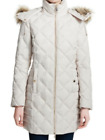 Kenneth Cole Reaction Womens Size Small Hooded Faux-Fur Down Quilted Coat