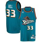 Grant Hill #33 Detroit Pistons Classic Teal Throwback Swingman Jersey NEW