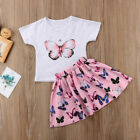 Toddler Kid Baby Girl Summer Top T-shirt+Skirt Dress Outfit Set Clothes 2pcs Set